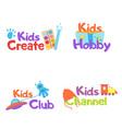 kids logo badge vector image vector image
