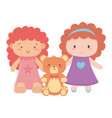 kids toys object amusing cartoon cute little dolls vector image vector image