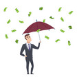 money rain businessman with umbrella under vector image
