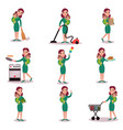mother daily routine activities super mom concept vector image