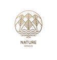 nature linear logo forest landscape vector image
