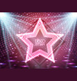neon sign disco star on night disco background vector image