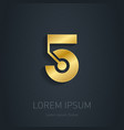 Number Five Gold logo Award 3d icon Metallic vector image