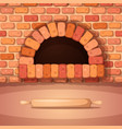 oven bonfire stove bakery rolling pin - cartoon vector image