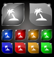 Palm Tree Travel trip icon sign Set of ten vector image vector image