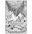 pegasus engraved fantasy vector image vector image