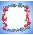 photo frame flower butterflie vector image
