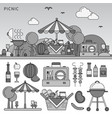 picnic on summer day line monochrome vector image vector image