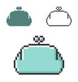 pixel icon purse in three variants fully vector image vector image