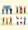 political meeting banner set flat style vector image