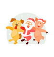 santa claus dog and pig vector image vector image