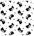 Seamless halloween pattern with black cats spiders vector image vector image