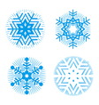Set of blue decorative snowflakes vector image vector image