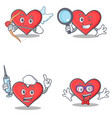 set of heart character with cupid detective nurse vector image vector image