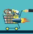 shopping cart with purchases vector image vector image