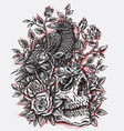 sketchy crow roses and skull tattoo design linewo vector image vector image