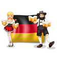 The flag of Germany with a man and a woman vector image