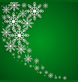 this is a green background with snowflakes vector image