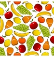 Tropical and garden fruits pattern vector image