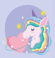 unicorn cartoon magic stars pink heart adorable vector image vector image