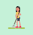 voluntire female clean up the garden vector image