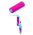 worker holding huge paint roller isometric 3d vector image