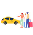 young persons order taxi through app vector image