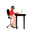 young woman sitting at desk and working on laptop vector image vector image