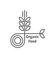 organic food logo with thin line wheat ears vector image