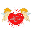 Funny cartoon cupids holding big heart vector image