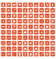 100 credit icons set grunge orange vector image vector image