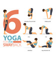 6 yoga poses for workout in swayback fix concept vector image vector image