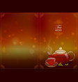 a glass teapot and a cup of tea on a colored vector image vector image