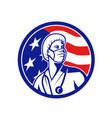 american nurse looking up usa flag circle vector image vector image