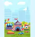 amusement park with colorful design vector image vector image