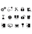 Black database and technology icon vector | Price: 1 Credit (USD $1)