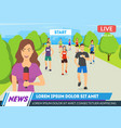 breaking news concept screen tv card background vector image