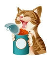 Cartoon smiling cat and its food vector image