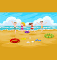 children at the beach vector image