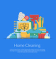 cleaning flat icons in paper pocket vector image