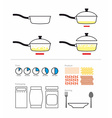 Cooking instruction with a frying pan FRY on vector image vector image