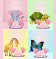 cute animal on birthday card vector image vector image