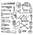 doodle style images plumbing and home tools to vector image