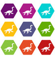 elasmosaurine dinosaur icon set color hexahedron vector image vector image