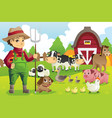 farmer at the farm with animals vector image