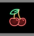 fashion glow neon light cherry flat vector image vector image