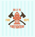 fire department emblem with fire hydrant vector image vector image