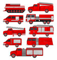 fire trucks set emergency vehicles side view vector image