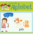 Flashcard letter P is for pets vector image vector image