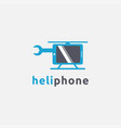 fun playful helicopter phone repair logo icon vector image
